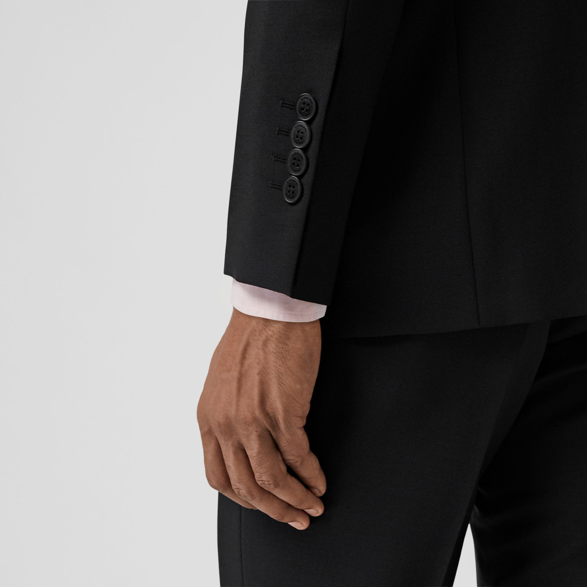 Slim Fit Wool Mohair Suit in Black - Men | Burberry United Kingdom - gallery image 3