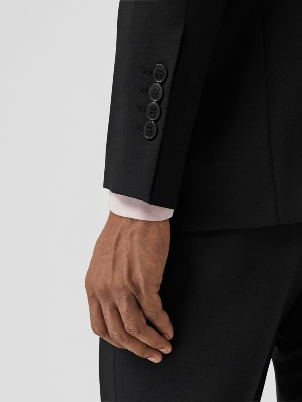 Slim Fit Wool Mohair Suit in Black - Men | Burberry United Kingdom - cell image 3