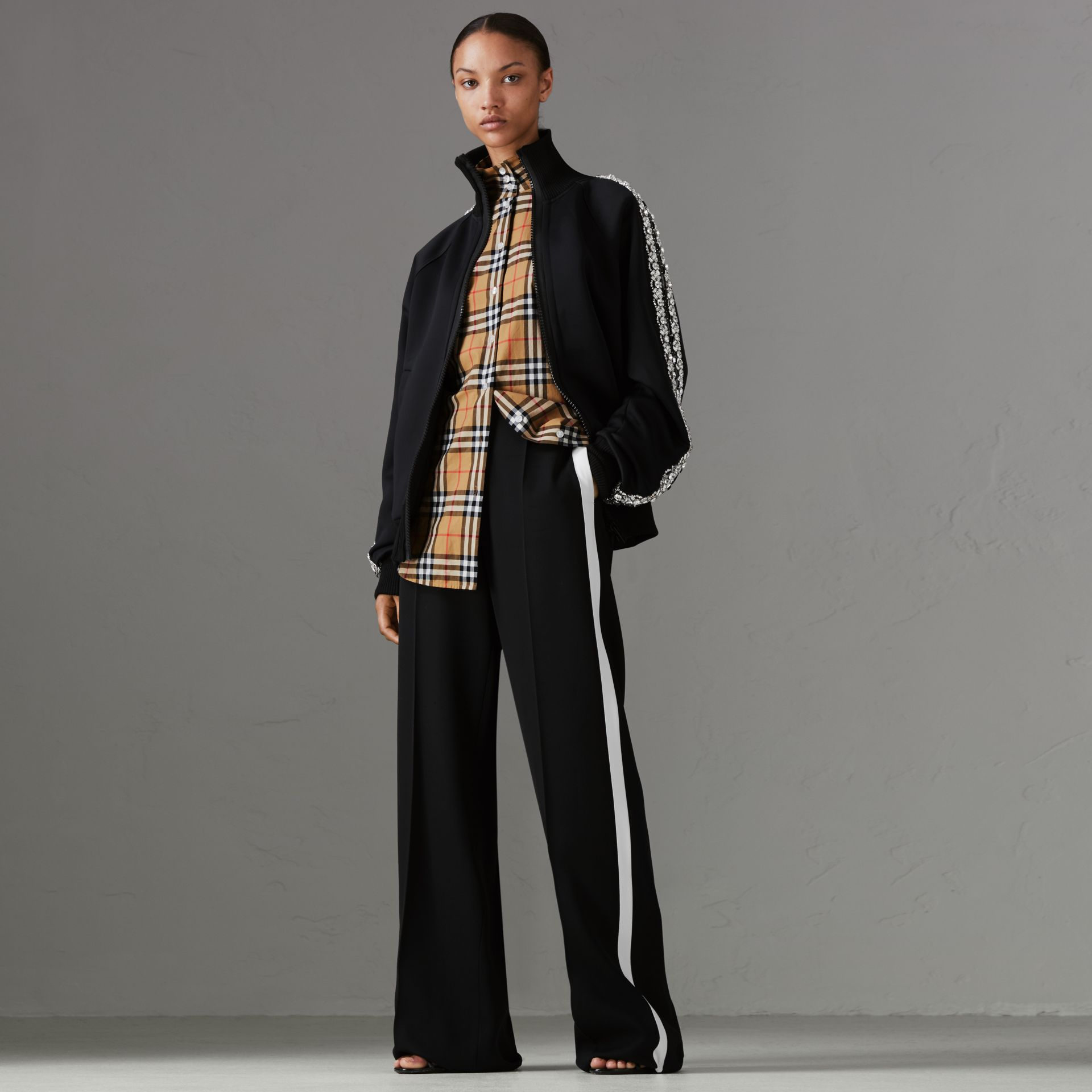 Crepe Wide-leg Trousers in Black - Women | Burberry - gallery image 0