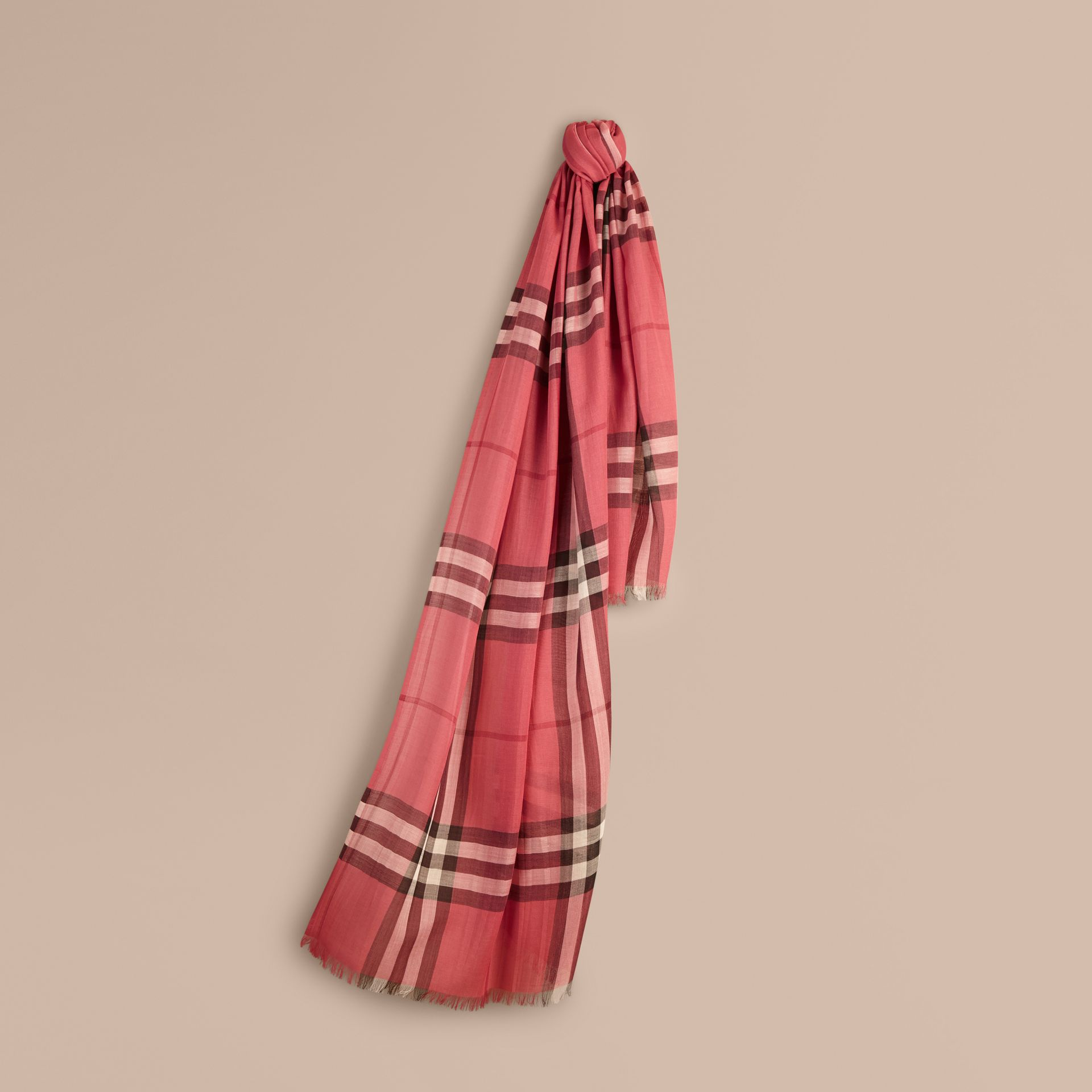 Blush pink Lightweight Check Wool and Silk Scarf Blush Pink - gallery image 1