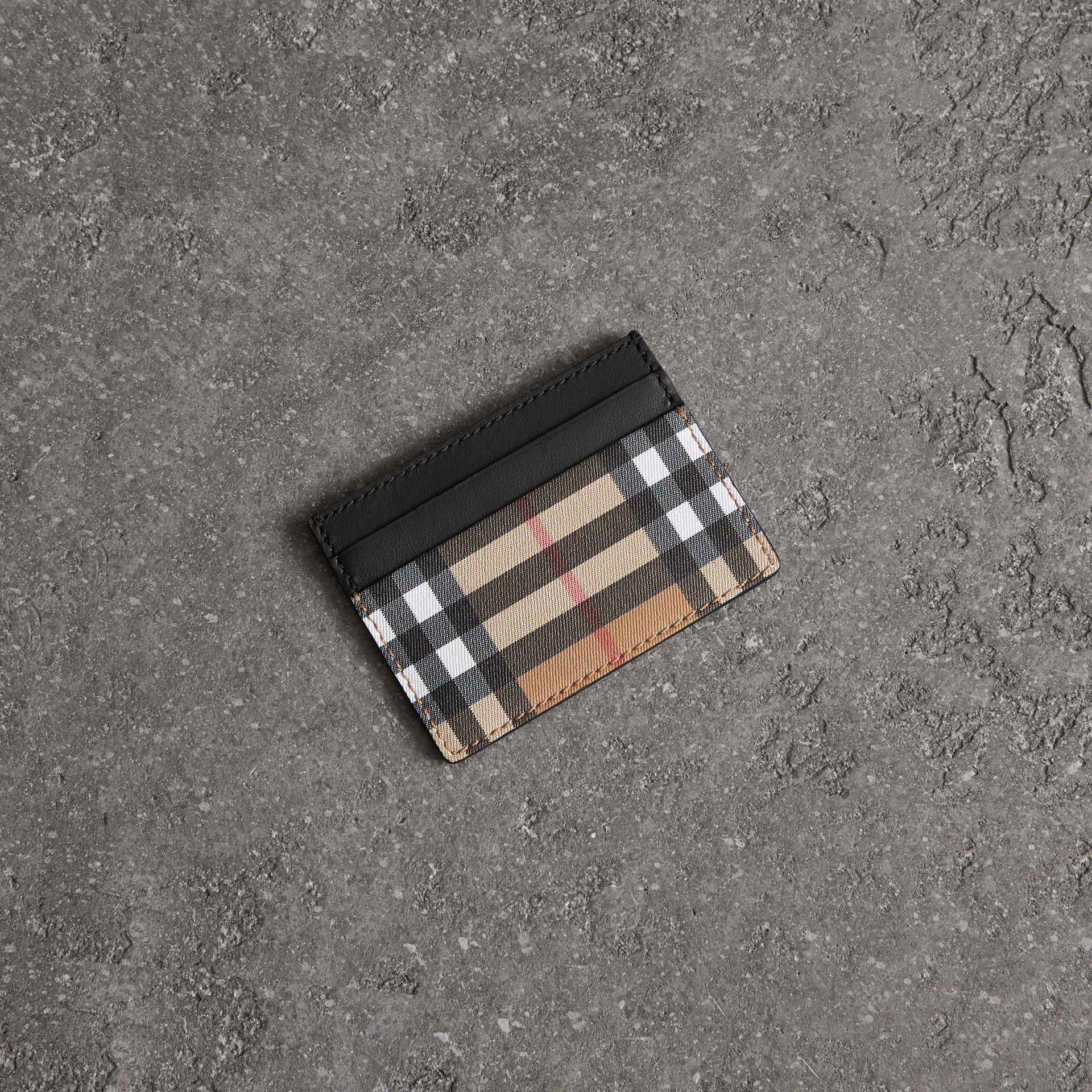 Vintage Check Leather Card Case in Black | Burberry - gallery image 0