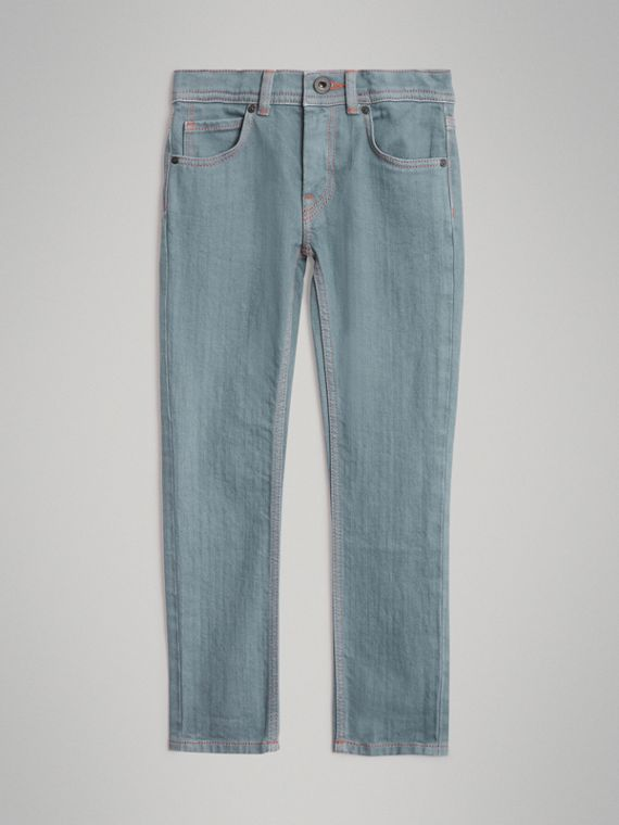 Skinny Fit Stretch Jeans in Dusty Blue