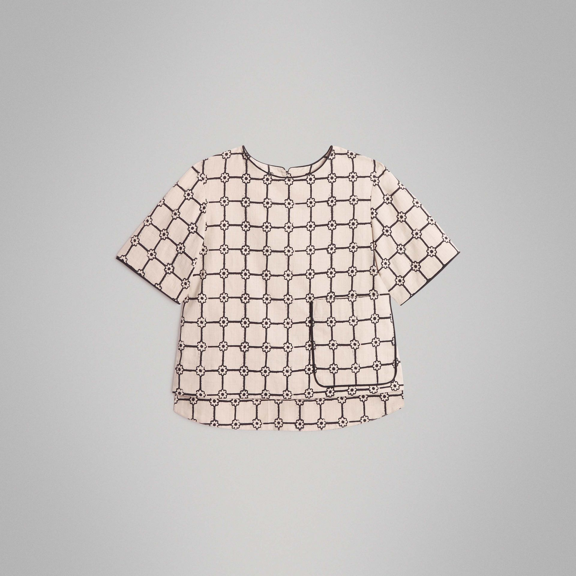 Piping Detail Flower Print Cotton Top in Stone | Burberry - gallery image 0