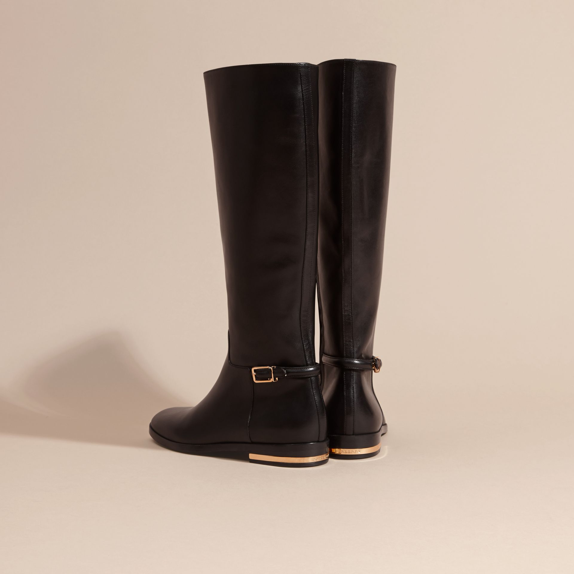 Black Knee-high Leather Riding Boots - gallery image 4
