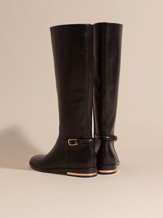 Black Knee-high Leather Riding Boots - cell image 3