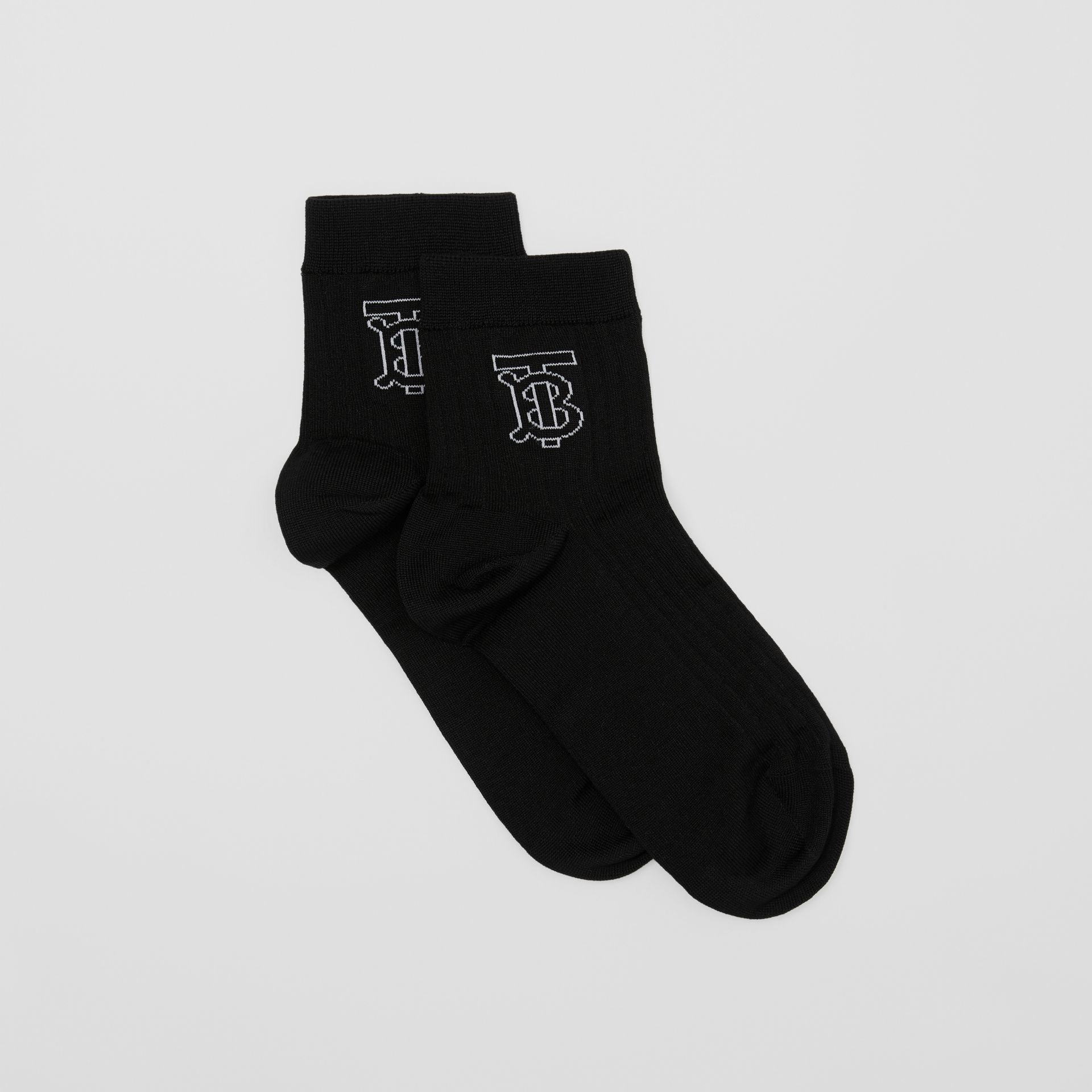Monogram Intarsia Cotton Blend Socks in Black/white   Burberry United States - gallery image 2