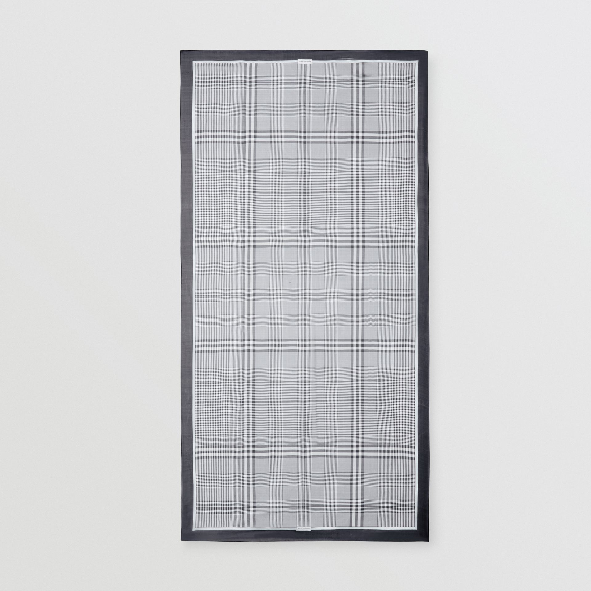 Check Print Silk Chiffon Scarf in Black/white | Burberry - gallery image 3