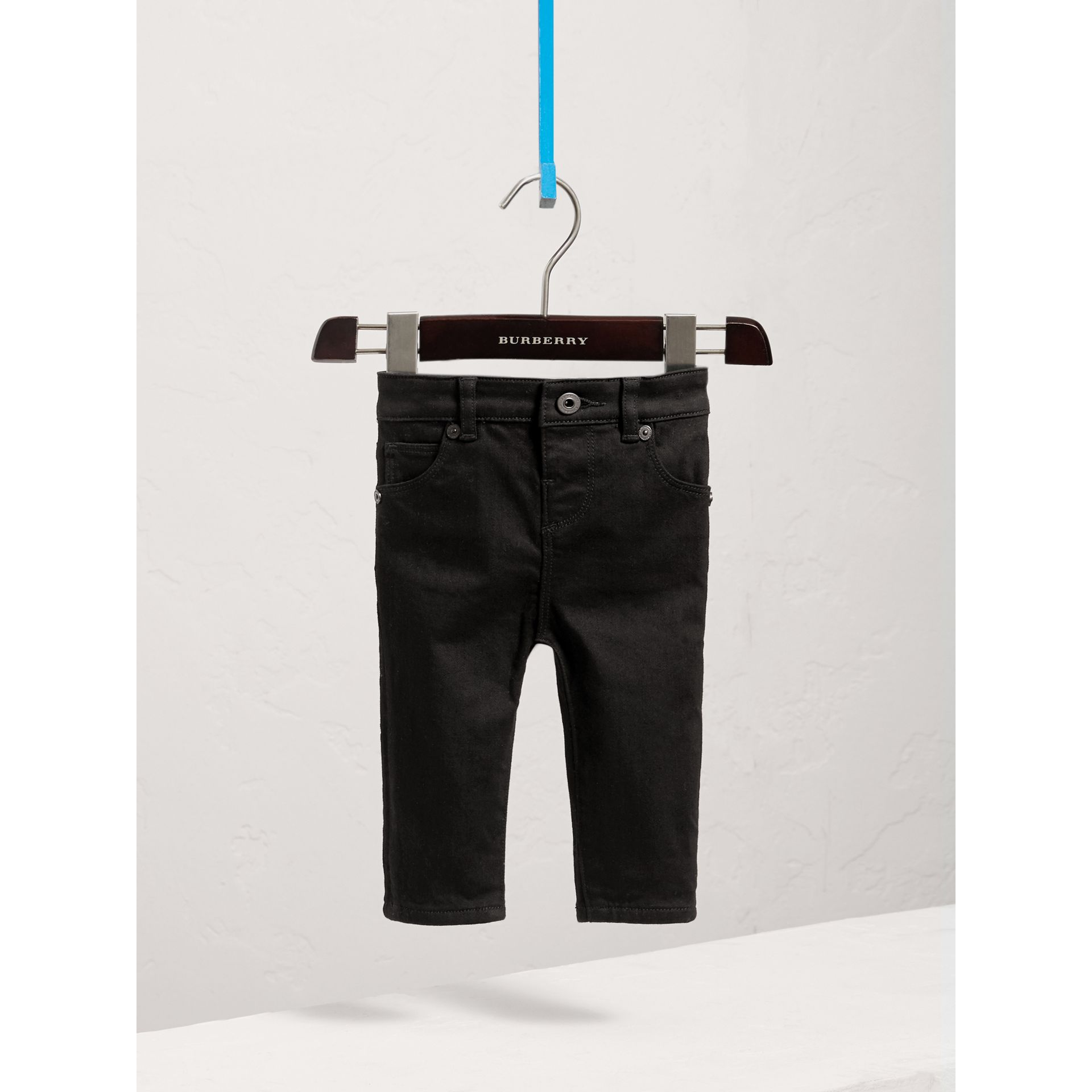 Skinny Fit Stretch Denim Jeans in Black - Children | Burberry United States - gallery image 0