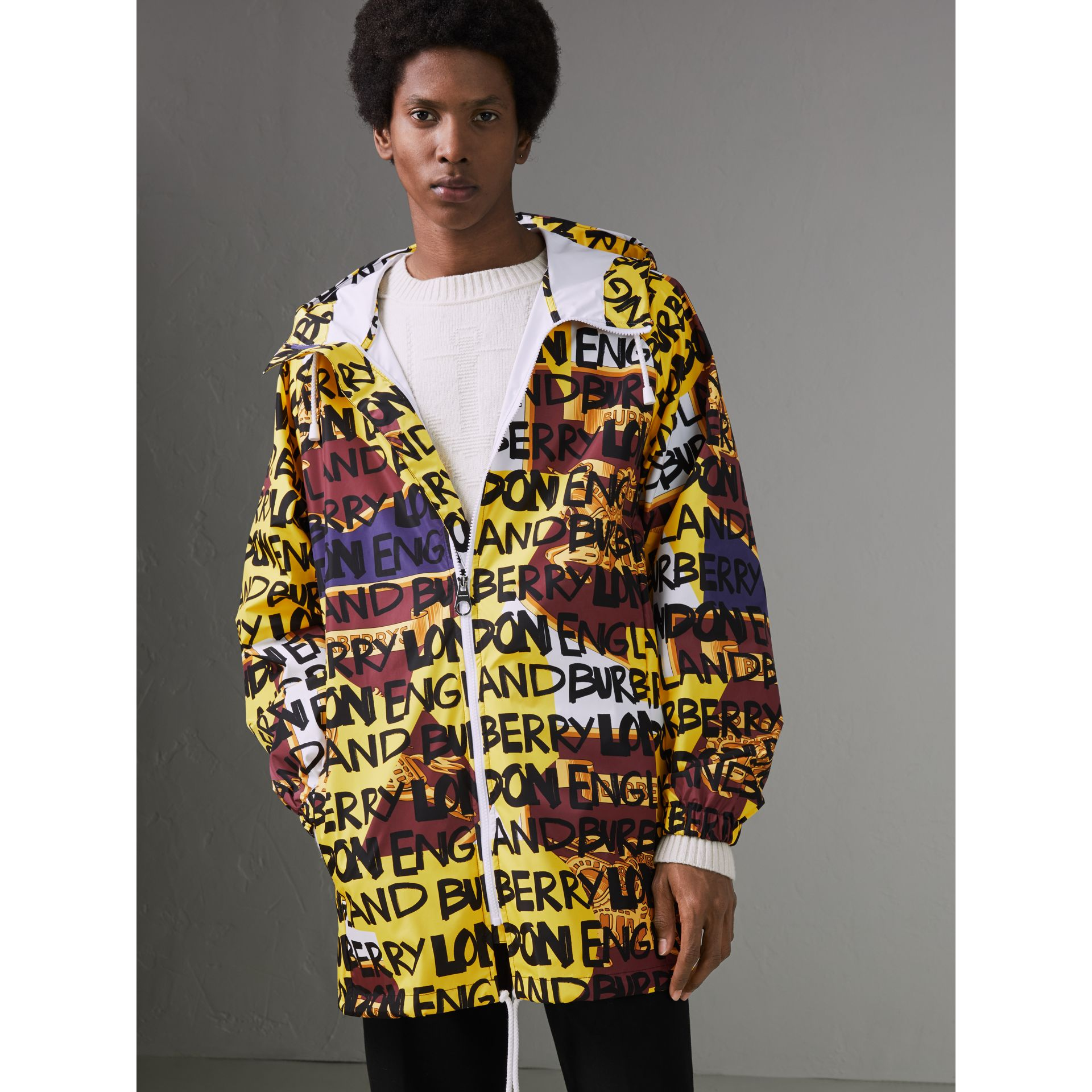 Graffiti Archive Scarf Print Hooded Jacket in Bright Yellow - Men | Burberry Australia - gallery image 5