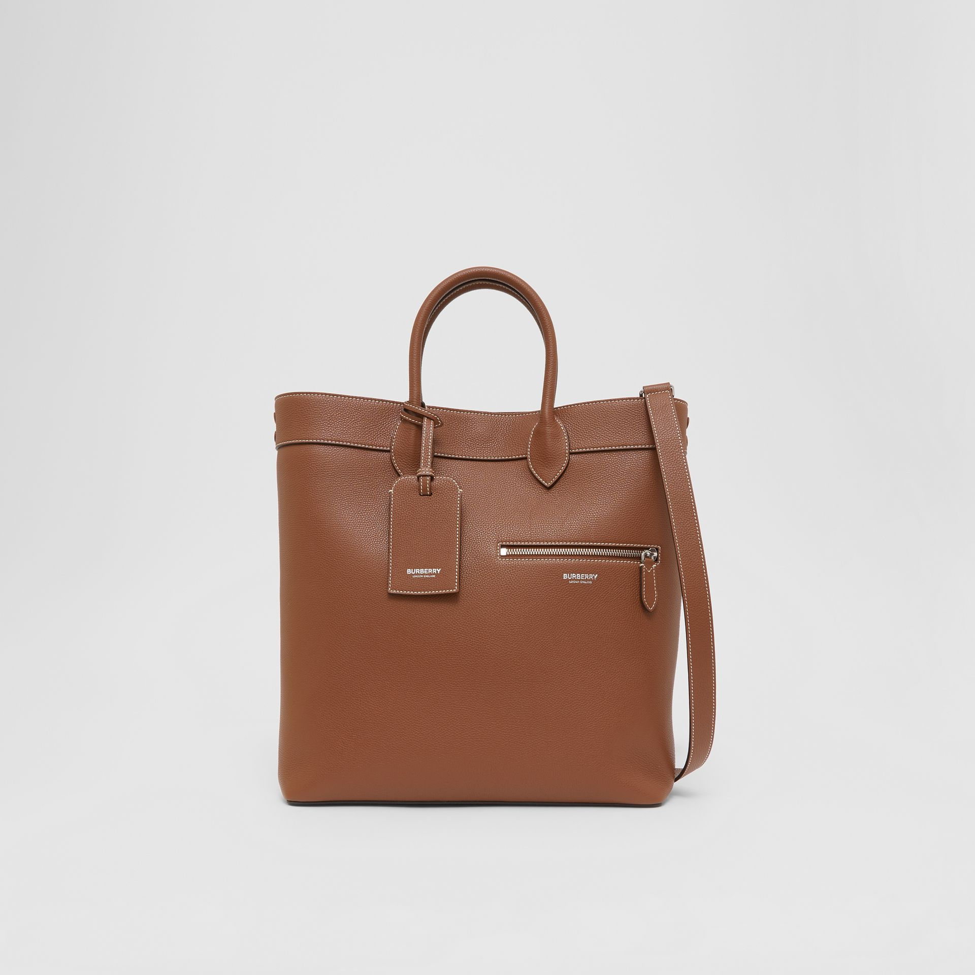 Grainy Leather Tote in Tan | Burberry - gallery image 0