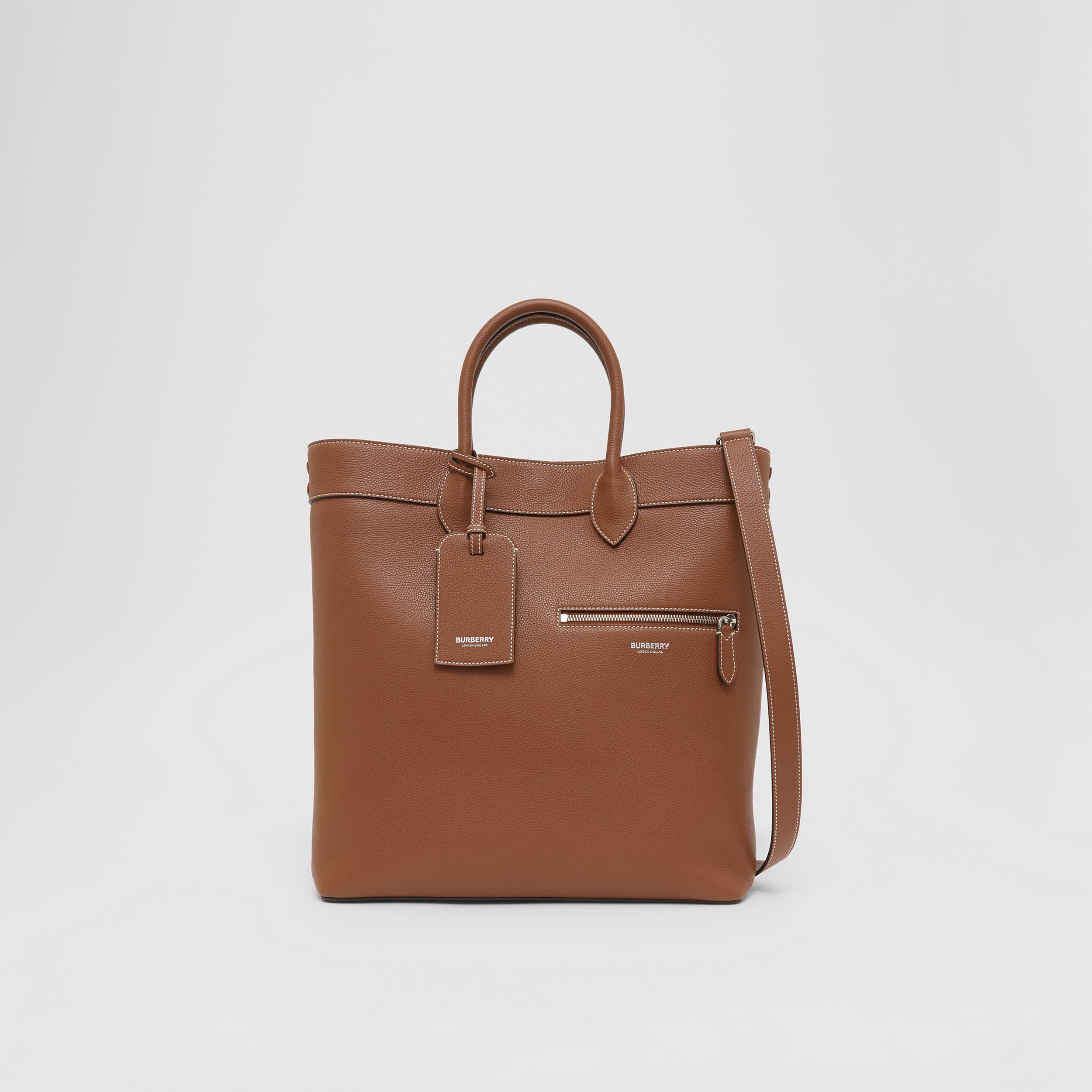 Grainy Leather Tote in Tan | Burberry - 1