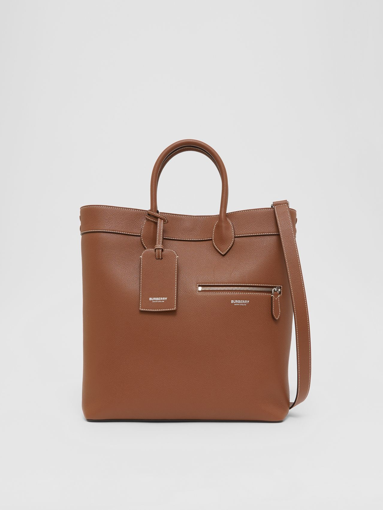 Grainy Leather Tote in Tan