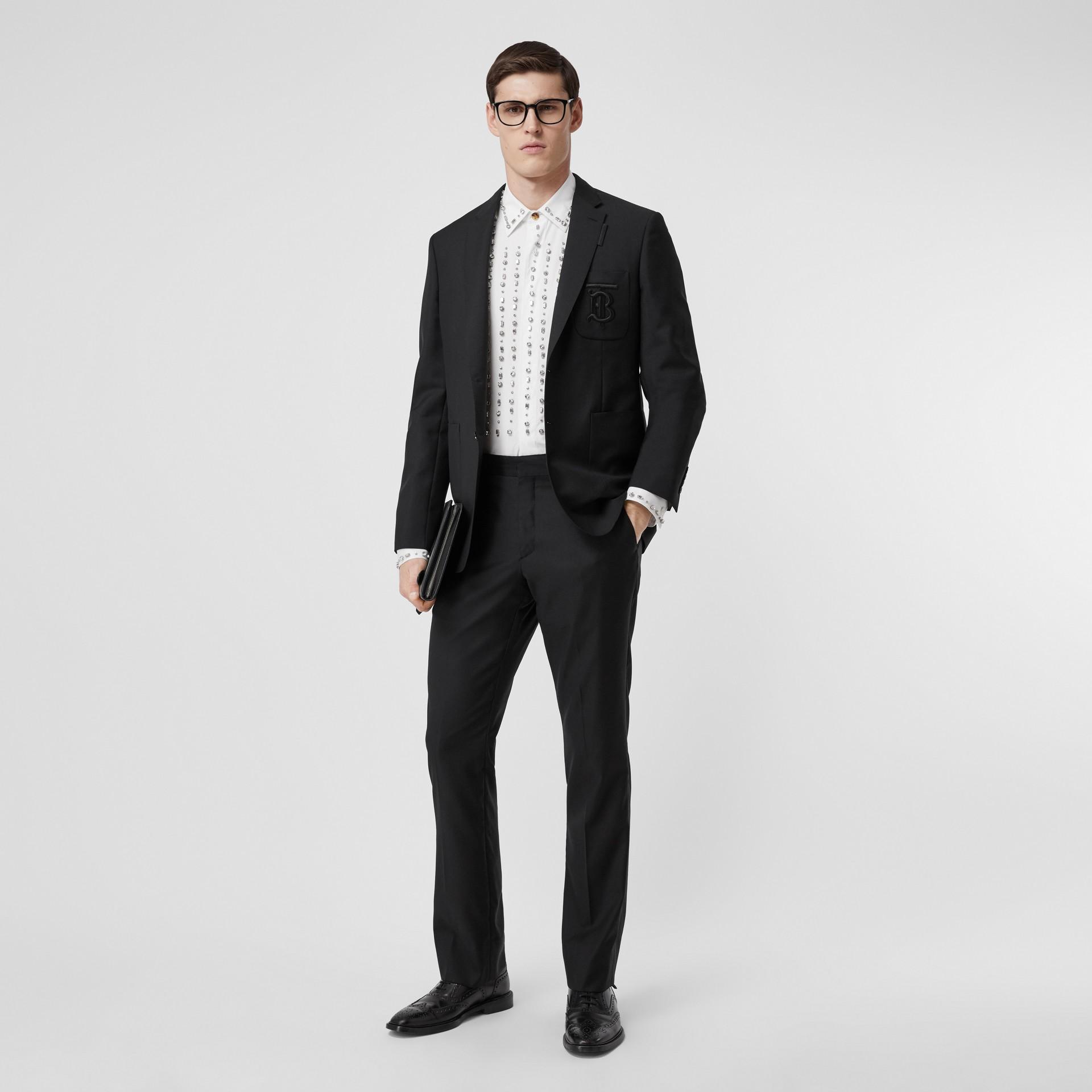 Slim Fit Monogram Motif Wool Mohair Tailored Jacket in Black - Men   Burberry United Kingdom - gallery image 4