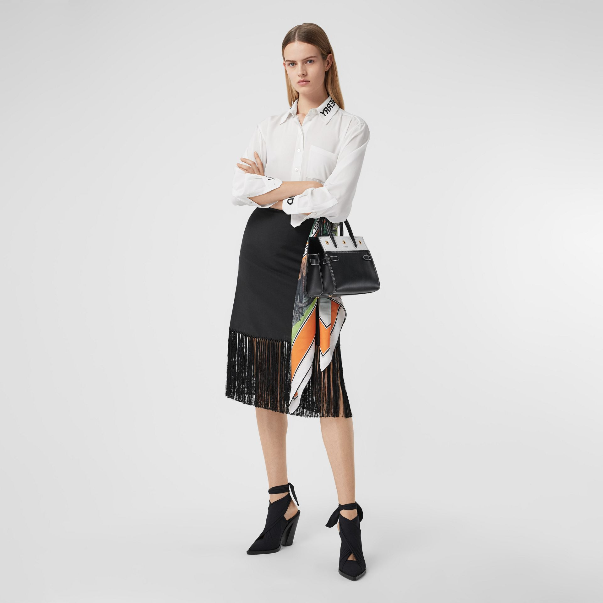 Logo Print Silk Crepe De Chine Shirt in Optic White - Women | Burberry United Kingdom - gallery image 0
