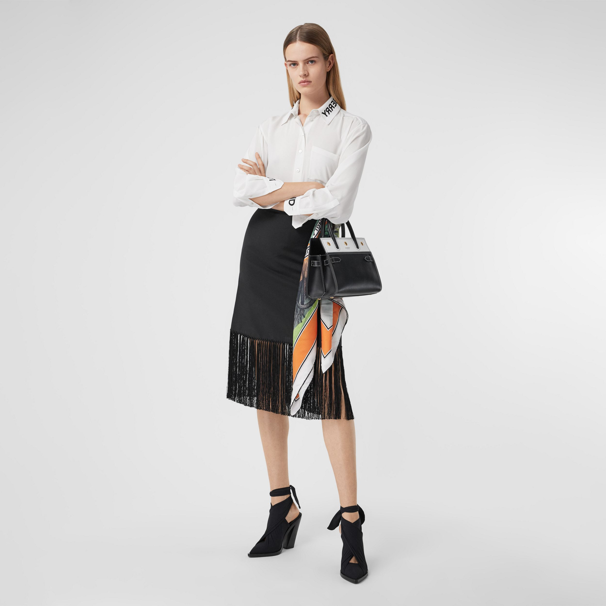 Logo Print Silk Crepe De Chine Shirt in Optic White - Women | Burberry - 1