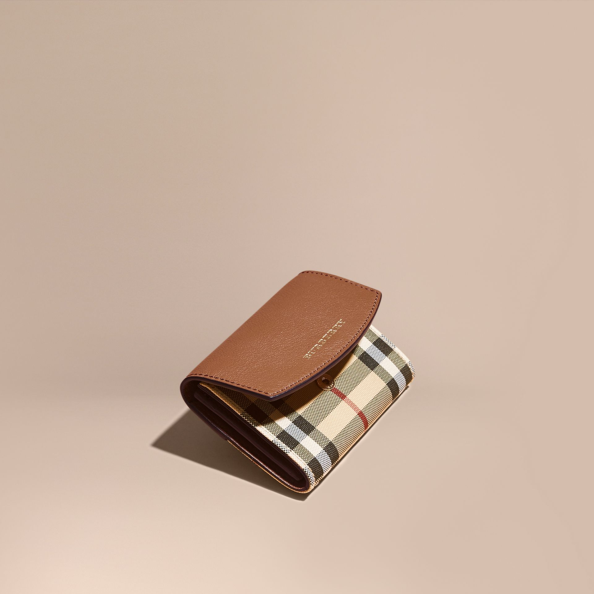 Horseferry Check and Leather Card Case in Tan - gallery image 1
