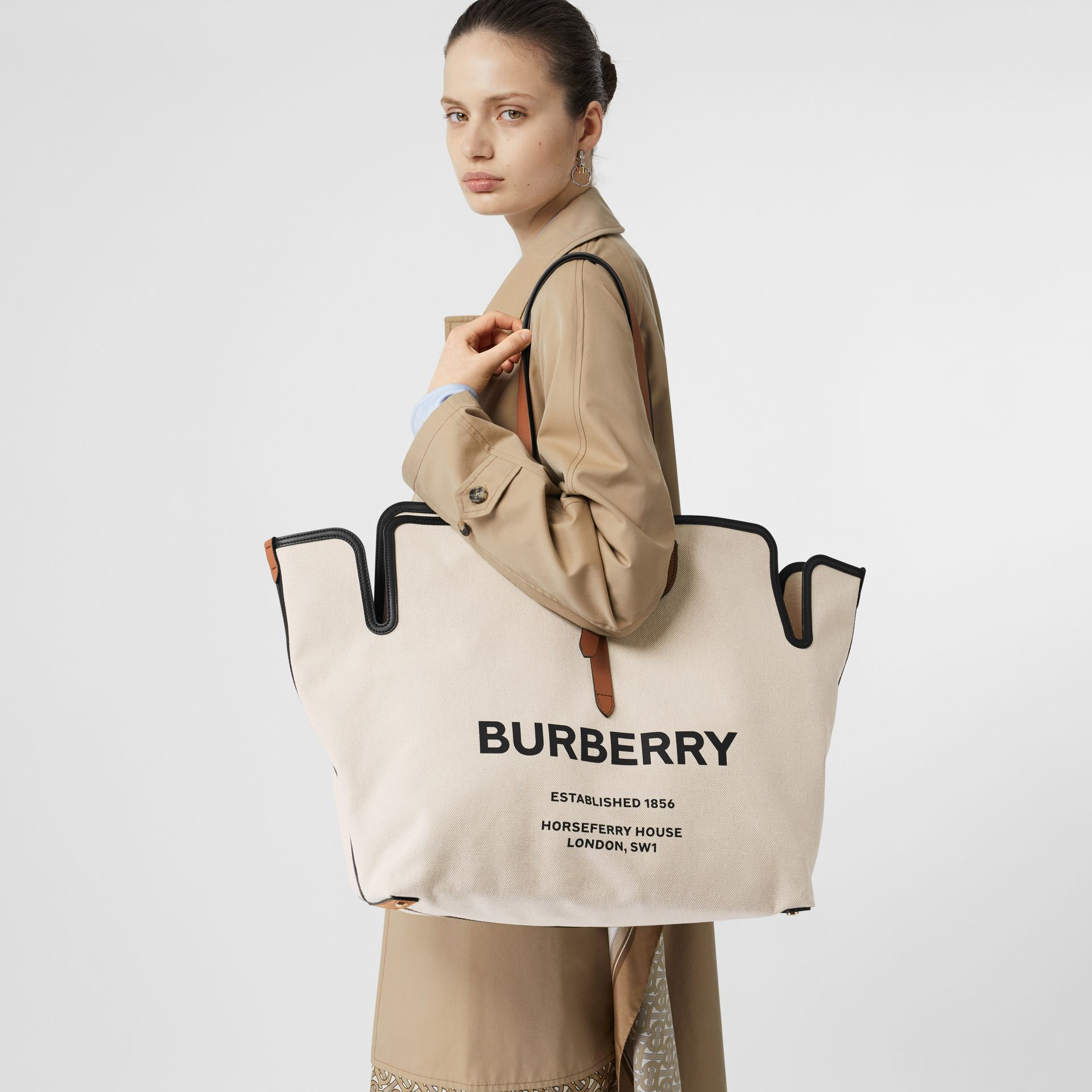 The Large Soft Cotton Canvas Belt Bag in Malt Brown | Burberry Singapore - gallery image 2