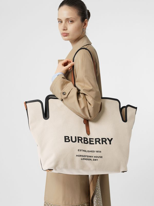 The Large Soft Cotton Canvas Belt Bag in Malt Brown - Women | Burberry - cell image 2
