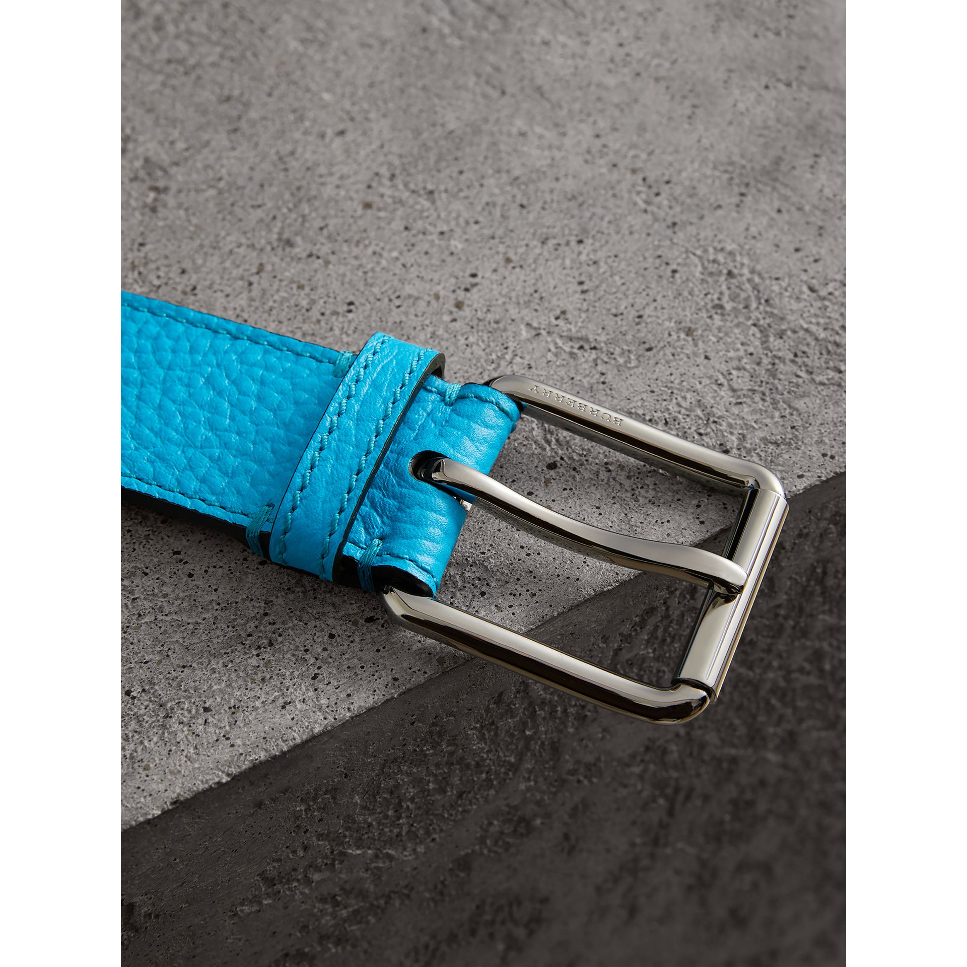 Embossed Grainy Leather Belt in Neon Blue | Burberry United States - gallery image 1