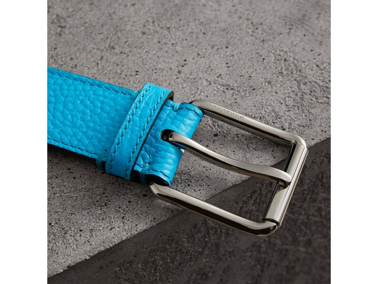 Embossed Grainy Leather Belt in Neon Blue | Burberry - cell image 1