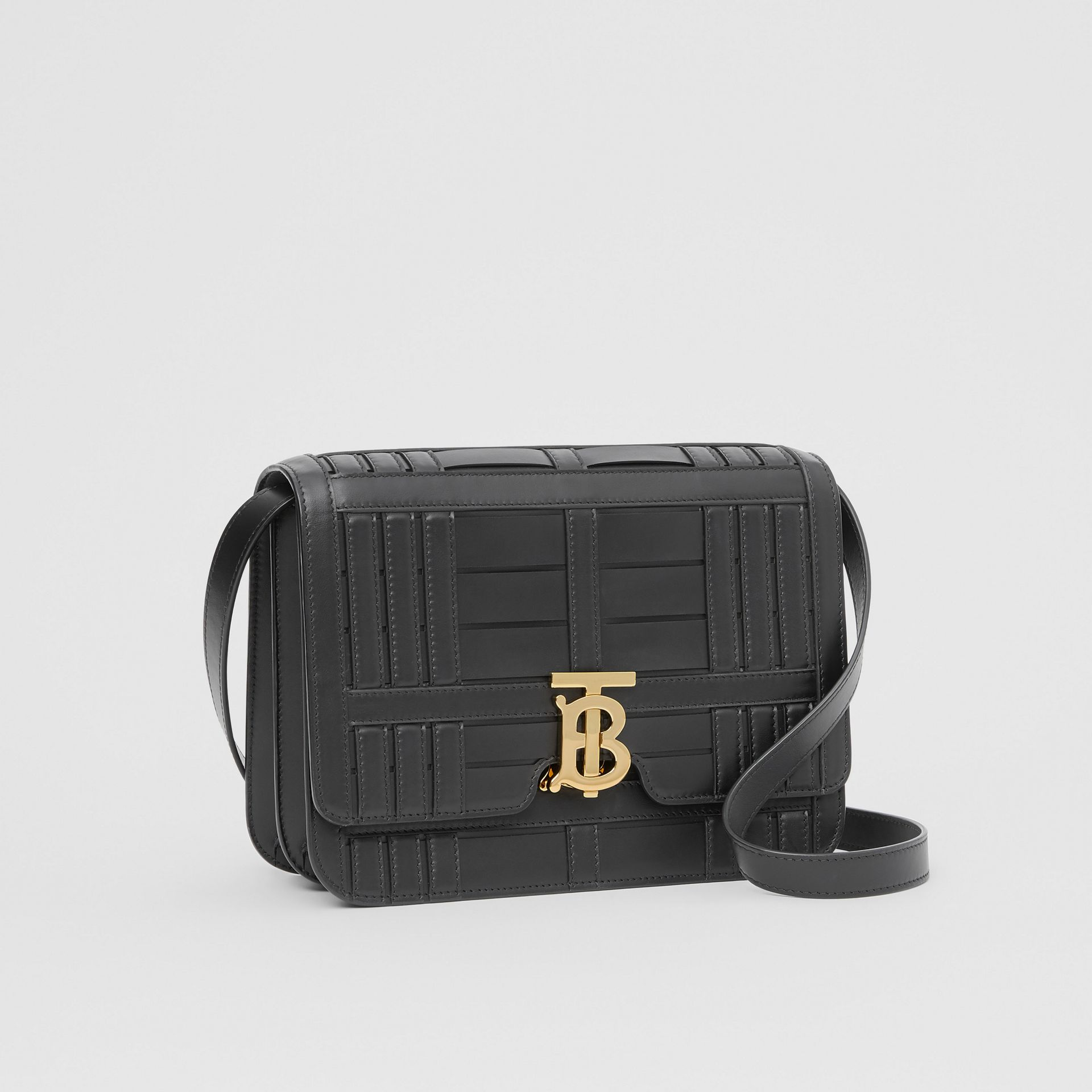 Medium Woven Leather TB Bag in Black - Women | Burberry - gallery image 6