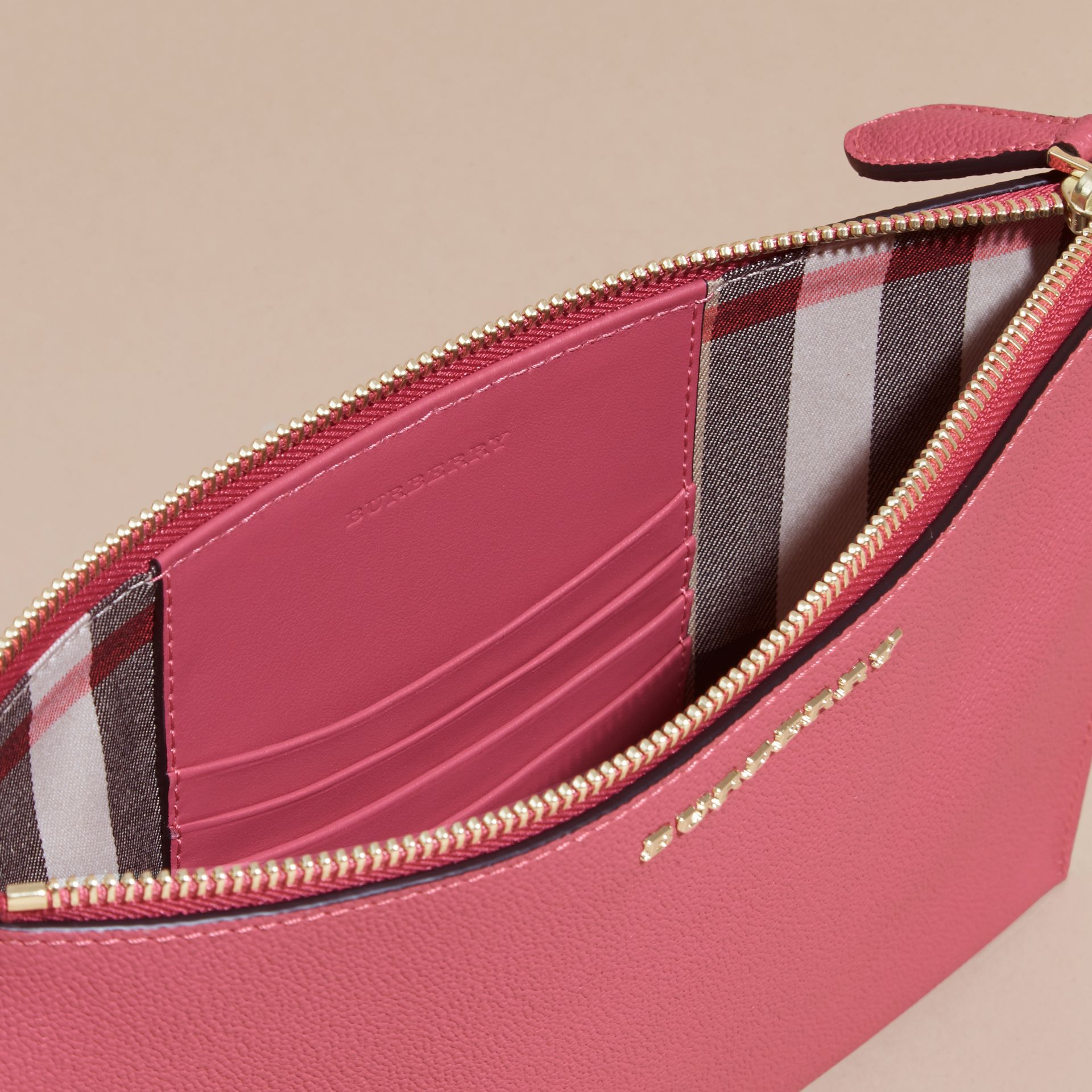 Leather Clutch Bag with Check Lining Pink Azalea - gallery image 6