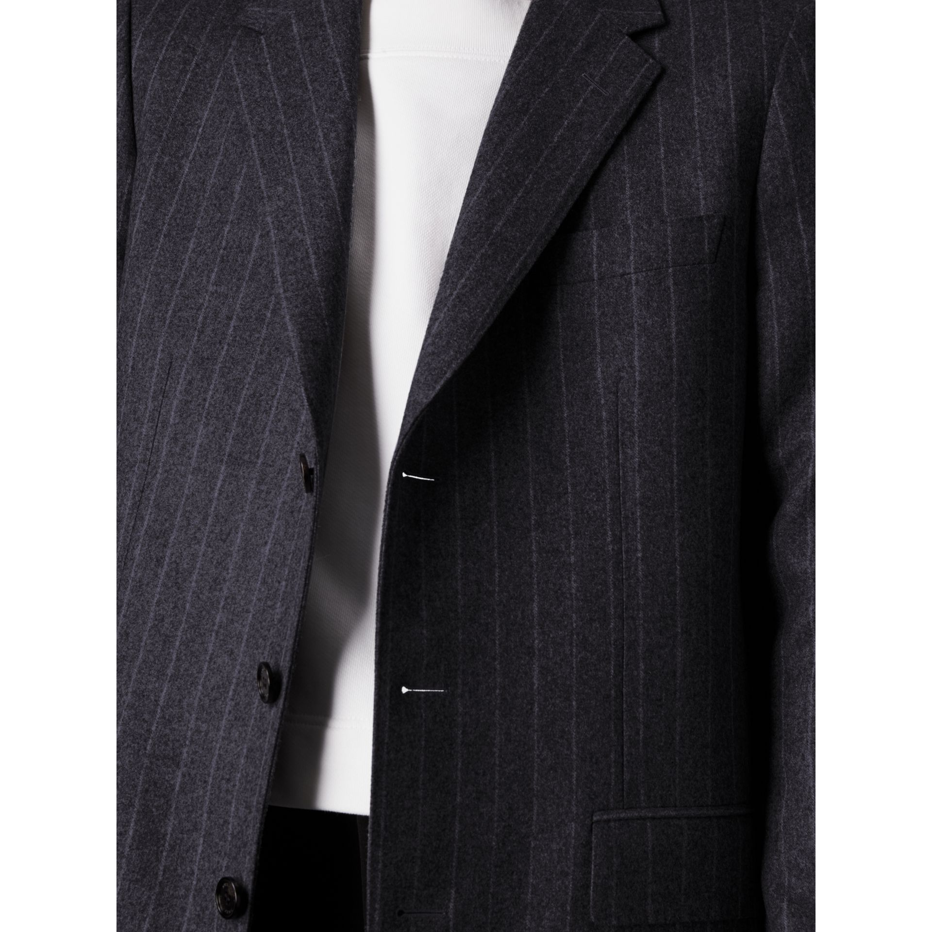 Pinstripe Wool Tailored Jacket in Navy - Men | Burberry United Kingdom - gallery image 1