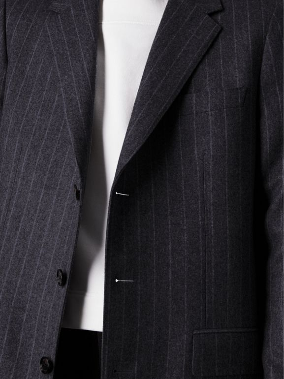 Pinstripe Wool Tailored Jacket in Navy - Men | Burberry United Kingdom - cell image 1