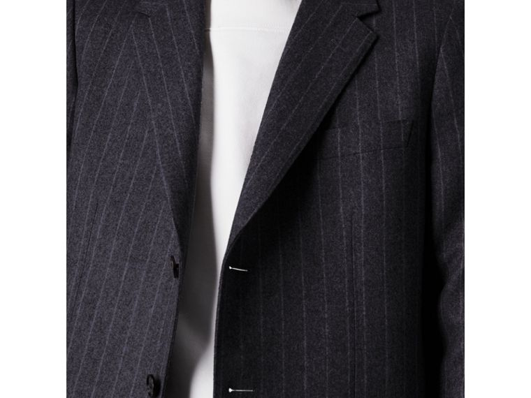 Pinstripe Wool Tailored Jacket in Navy - Men | Burberry Australia - cell image 1