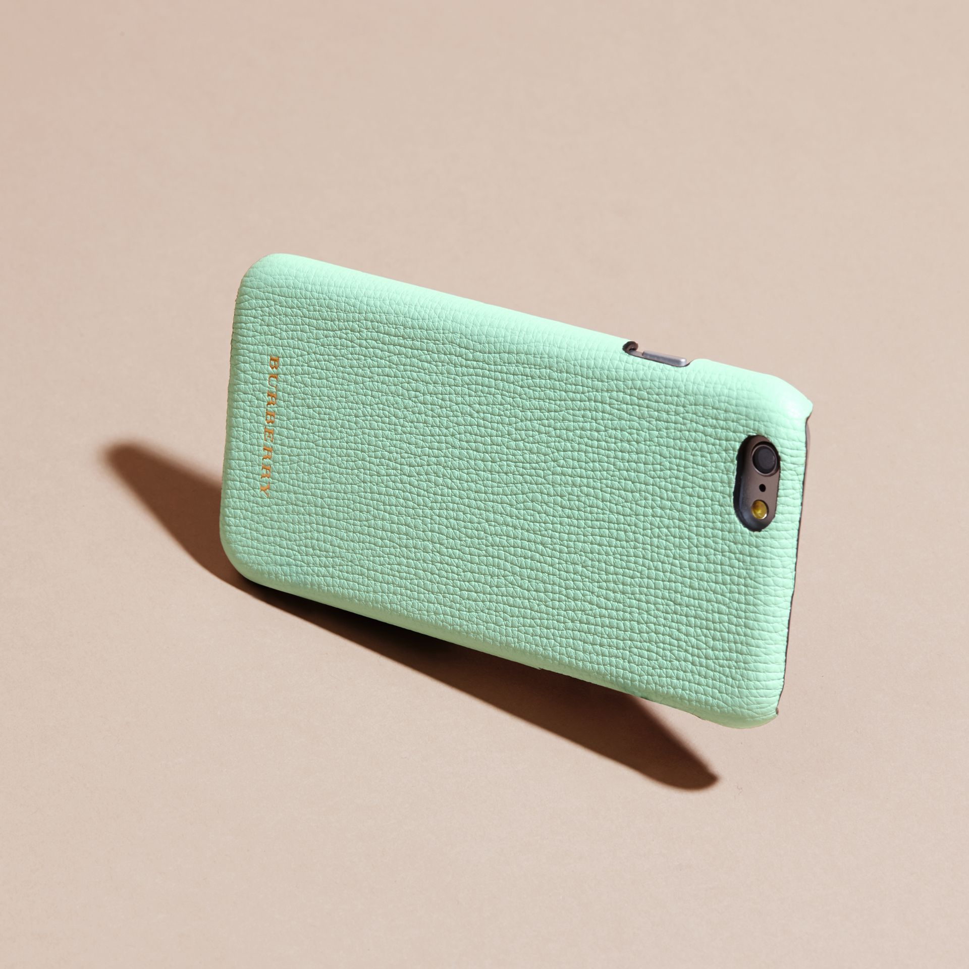 Grainy Leather iPhone 6 Case in Light Mint | Burberry - gallery image 4