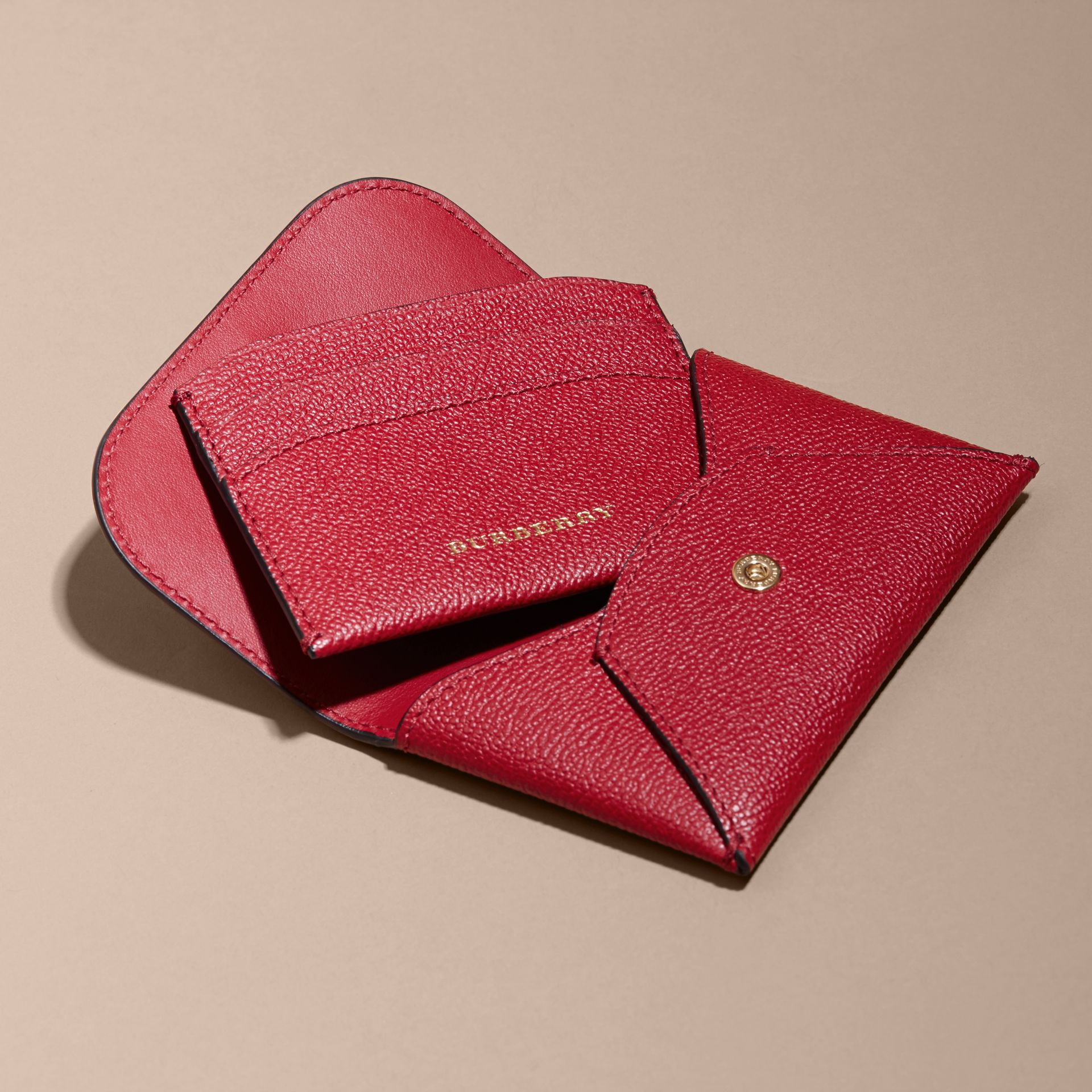 Leather Coin Case with Removable Card Compartment in Parade Red - Women | Burberry - gallery image 5