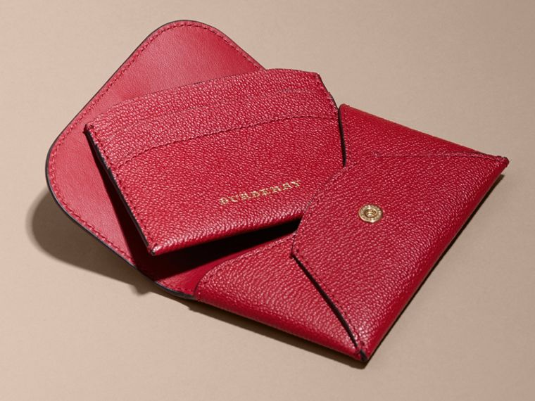 Leather Coin Case with Removable Card Compartment in Parade Red - Women | Burberry - cell image 4