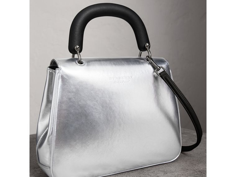 The Medium DK88 Top Handle Bag in Metallic Leather in Silver - Women | Burberry United Kingdom - cell image 4
