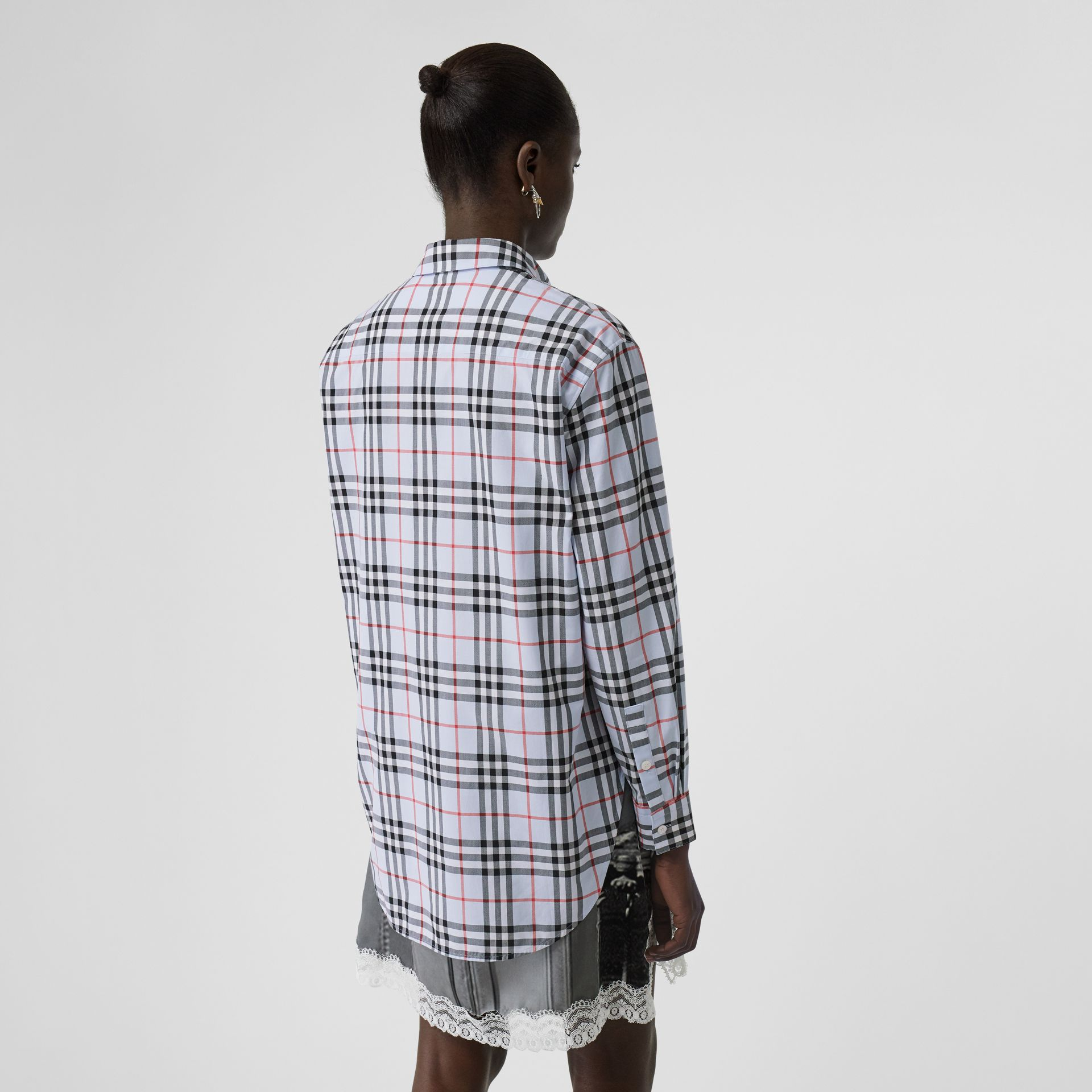 Button-down Collar Vintage Check Cotton Shirt in Pale Blue - Women | Burberry - gallery image 2