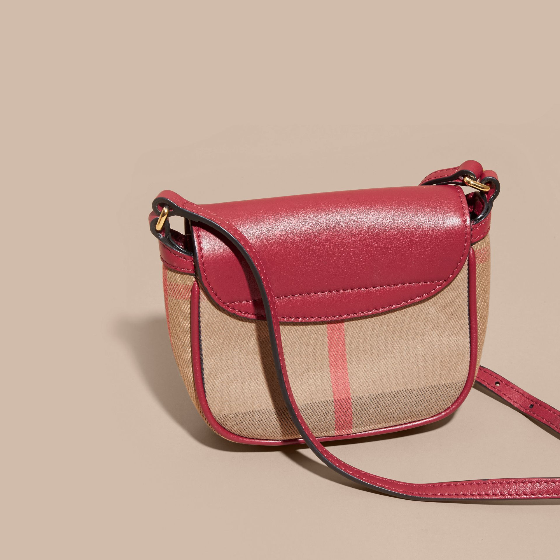 Weather Motif Leather and House Check Crossbody Bag - gallery image 4