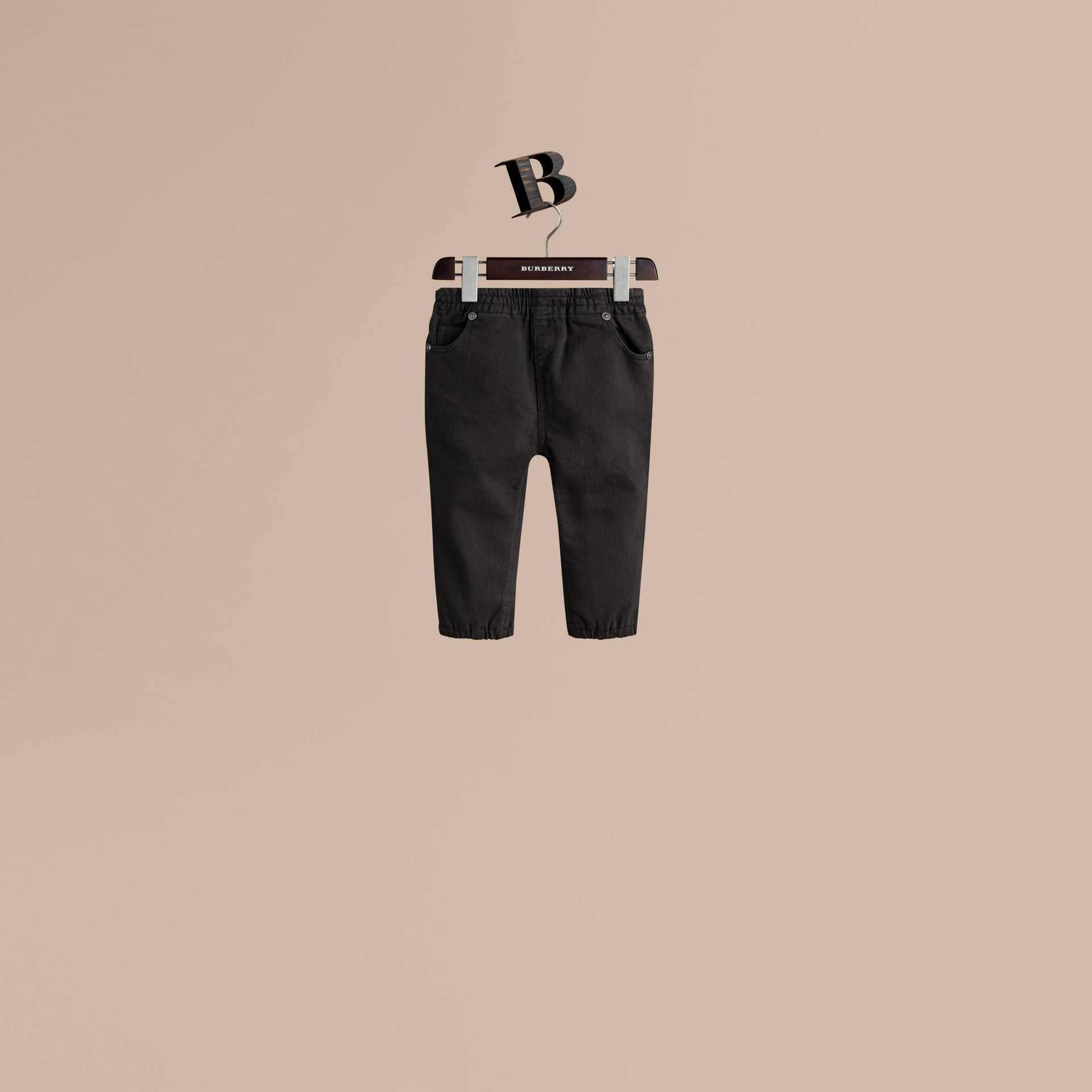 Stretch Denim Leggings in Black - Girl | Burberry - gallery image 1