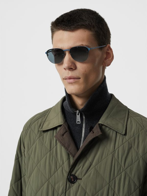 Round Frame Sunglasses in Blue - Men | Burberry - cell image 2