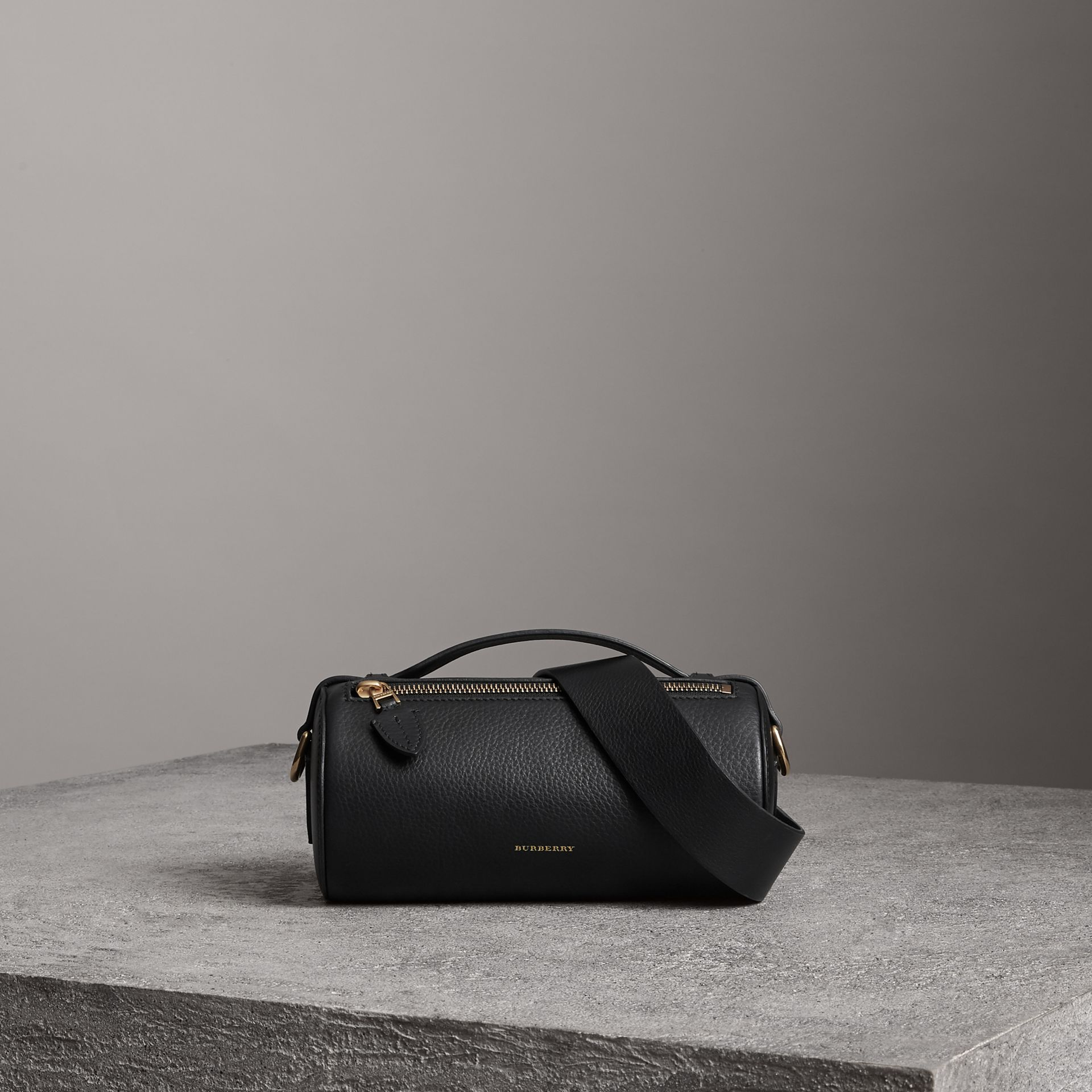 The Leather Barrel Bag in Black - Women | Burberry Australia - gallery image 0