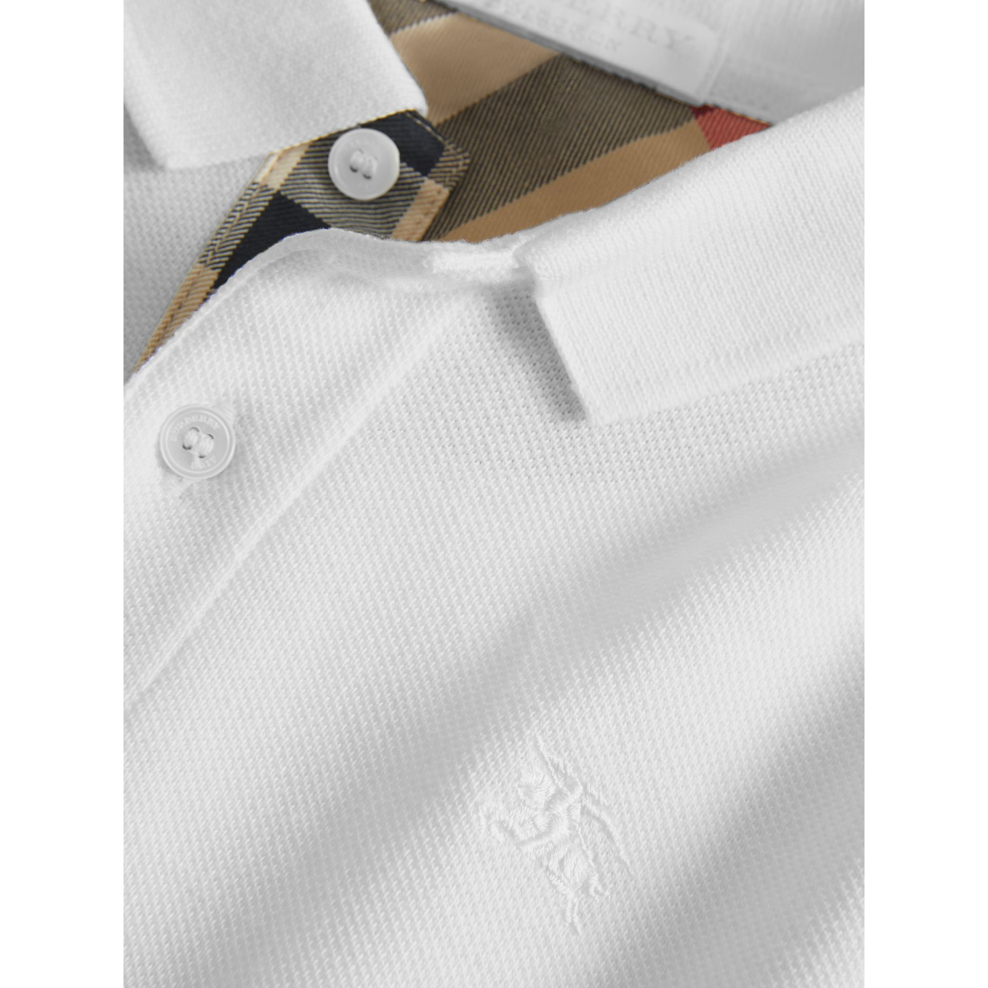 Check Placket Polo Shirt in White - Boy | Burberry - gallery image 1