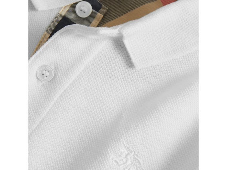 Check Placket Polo Shirt in White - Boy | Burberry United States - cell image 1