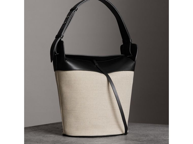 The Large Cotton Linen and Leather Bucket Bag in Black - Women | Burberry - cell image 4