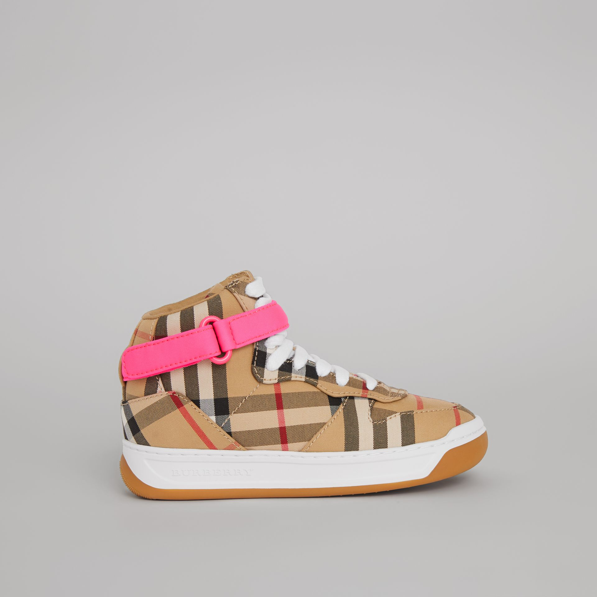 Vintage Check High-top Sneakers in Antique Yellow/neon Pink | Burberry Canada - gallery image 3