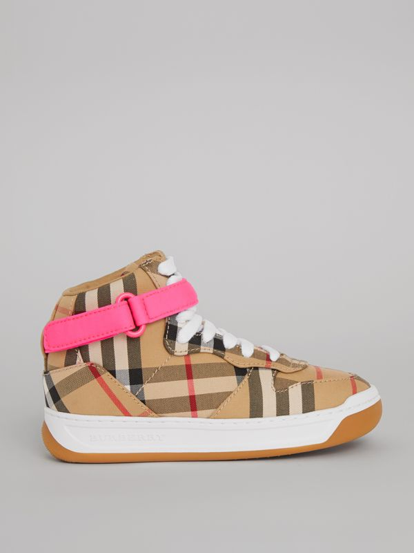 Vintage Check High-top Sneakers in Antique Yellow/neon Pink | Burberry - cell image 3