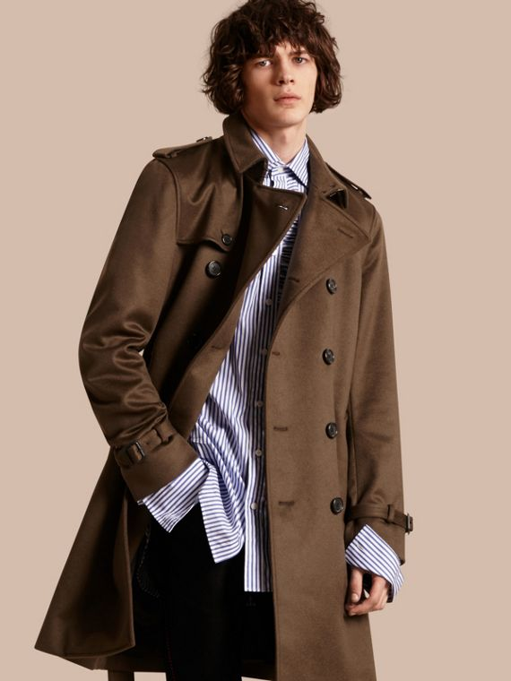 Cashmere Trench Coat Dark Military Khaki