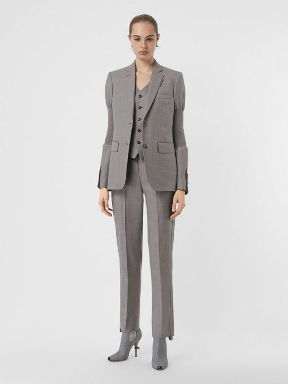 Panelled-sleeve Wool Tailored Jacket in Flint