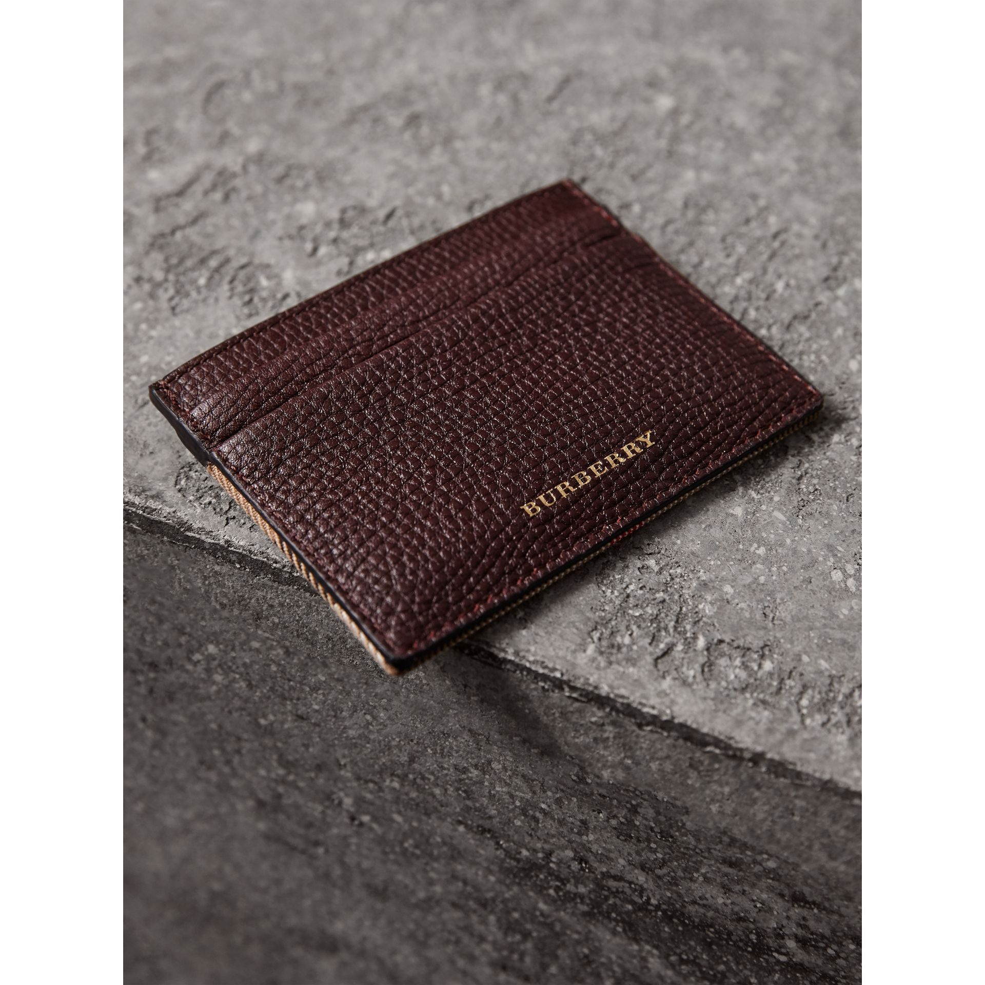 House Check and Grainy Leather Card Case in Wine | Burberry - gallery image 4