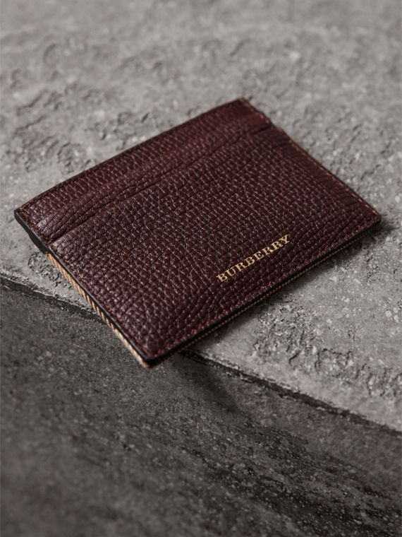 House Check and Grainy Leather Card Case in Wine | Burberry - cell image 3