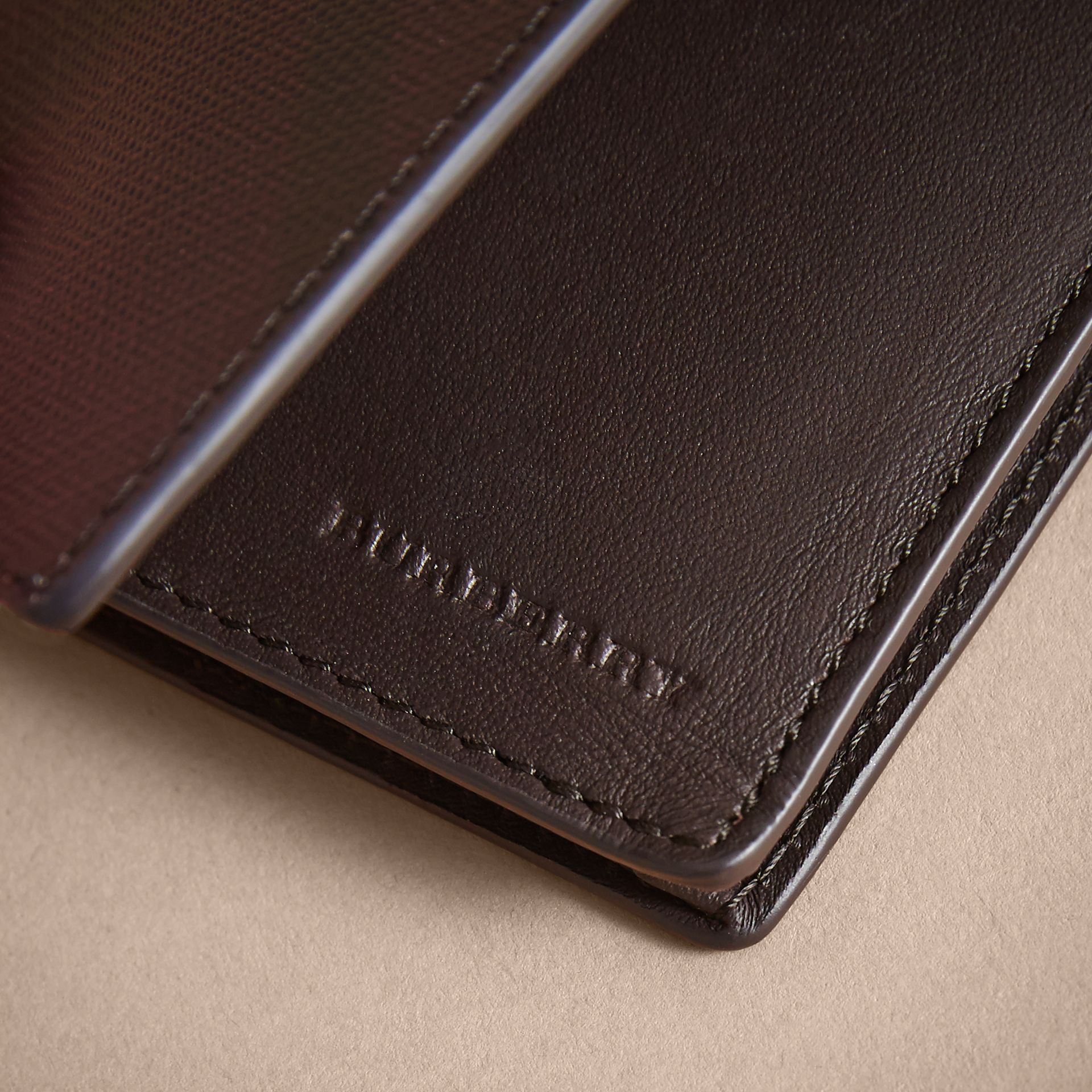 London Check and Leather Folding Card Case in Deep Claret - Men | Burberry - gallery image 2