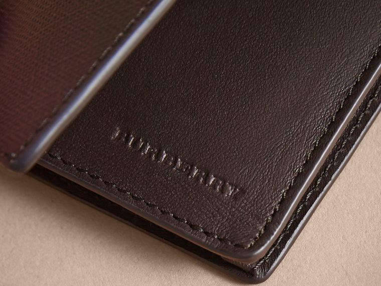 London Check and Leather Folding Card Case Deep Claret - cell image 1