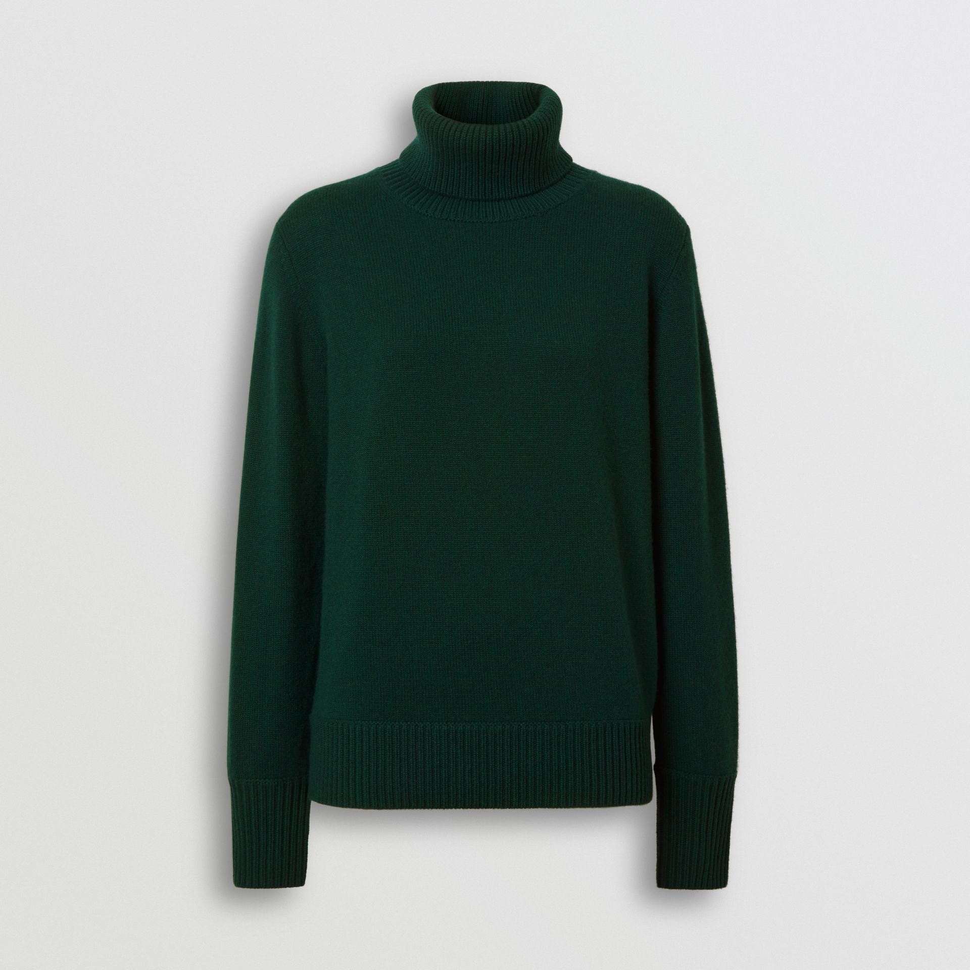 Embroidered Crest Cashmere Roll-neck Sweater in Dark Cedar Green - Women | Burberry - gallery image 3
